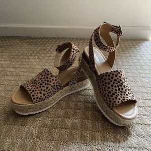 Leopard Platform Espadrille Sandals by Soda